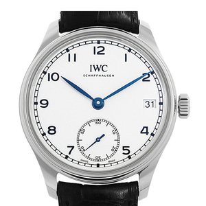 아이더블유씨 IWC IW510212 Portugieser stainless steel and leather chronograph watch