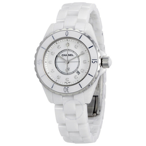샤넬시계 CHANEL H1628 CHANEL J12 H1628 White Ceramic 33mm Diamond Dial